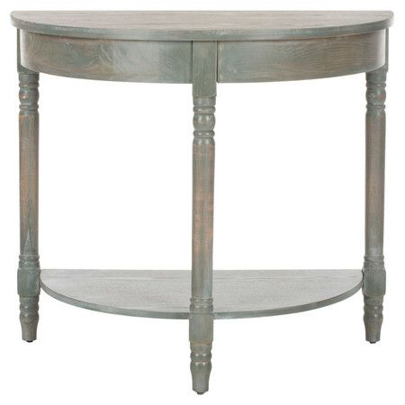 Perfect for displaying a lush floral arrangement or cherished family photos, this love console table showcases a half-moon silhouette and lower display shelf...