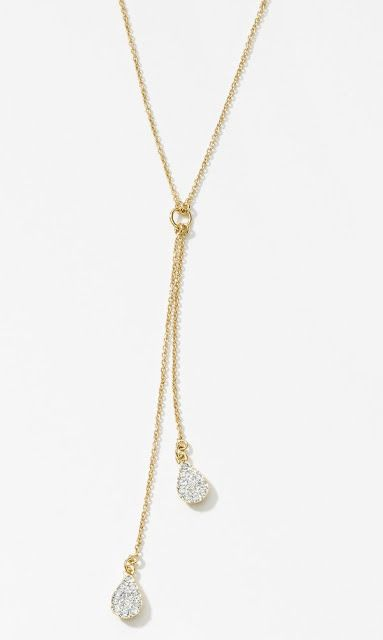 Under $50 Holiday Gift Guide - Our Pave Teardrop Necklace in Gold features Crystal Moonlight crystal on gold plating.