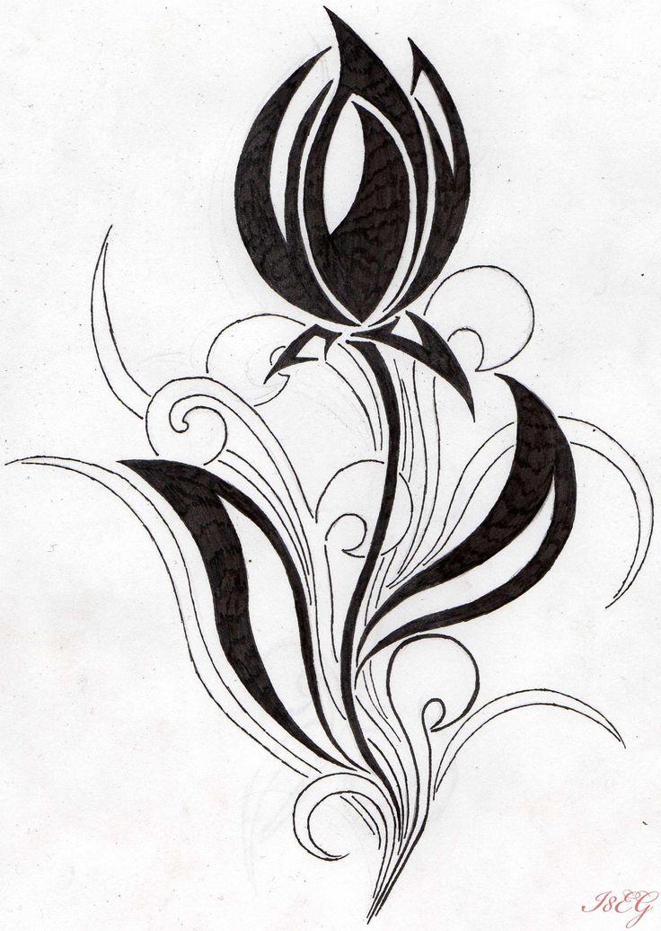 Flower Drawings | flower tribal tulip by aglinskas traditional art body art body ...