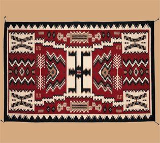 Large 6'x9' Southwestern Wool Rug & Pad -Navajo Storm (69722)