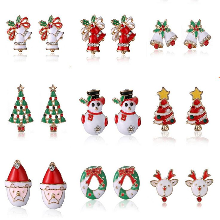 Hot Snowman lovely Tree Bell Christmas Jewelry Christmas Earring For Women Gifts Statement Jewelry Ear Studs Free shipping