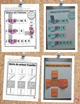 Les mots de même famille et les règles de l'élision pour cahier interactif