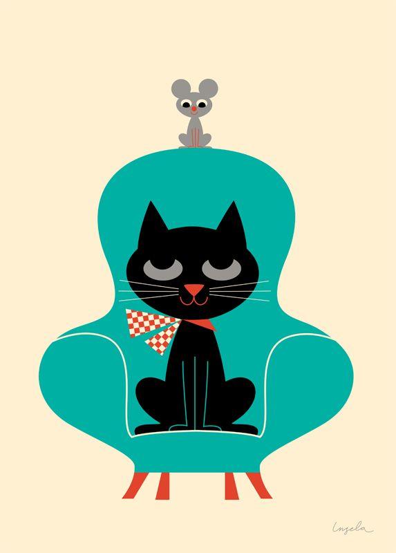 Affiche rétro design 50s 60s enfant : Friends, Ingela P Arrhenius - L'Affiche Moderne