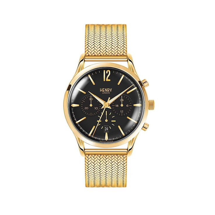 """Henry London """"Westminster"""" Black Dial Goldtone Stainless Steel Mesh Strap Chronograph Watch"""