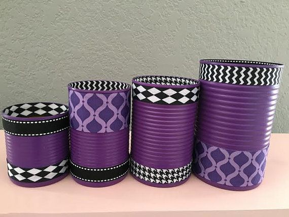 Set of 4 Purple and Black Tin Cans by partiesgalore on Etsy