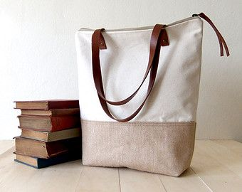 Eco Large zippered Canvas Tote Light Brown Jute (Indian Plant) Fabric Tote natural canvas Brown Leather Straps Handmade Shoulder Tote Bag