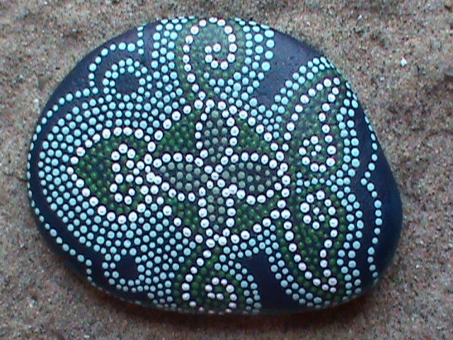 "Hand Painted Stone ""Sea Turtle"""