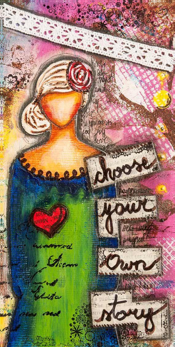 Inspirational Art - Whimsical Art - Motivational Print - Positive Affirmation - Mixed Media Art - Graduation Gift for Her - Quote Art