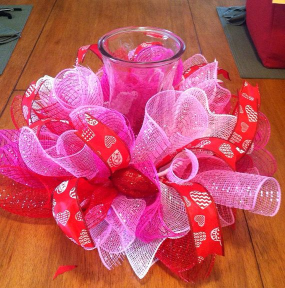 Valentine table centerpiece/ valentine candle by Wreaths4u2byPaula