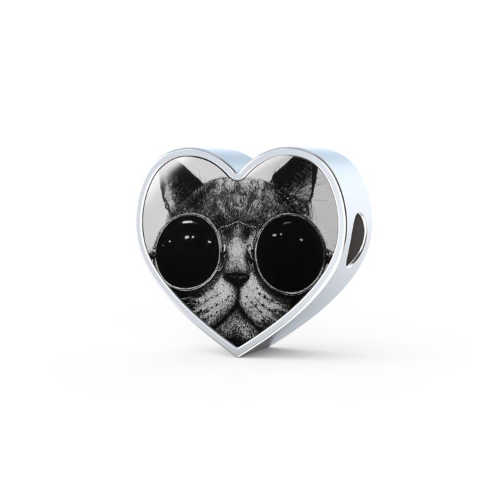 Coolest cat in town heart shape animal charm only