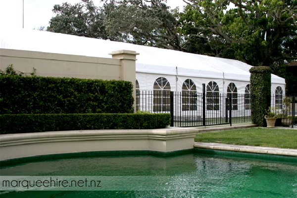 This marquee install next to a pool looked fantastic! Wedding Marquee Hire NZ