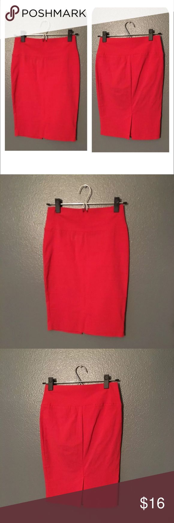 """Coral high waisted, hip-hugging pencil skirt😉 Vibrant coral color definitely catches attention! It looks red in the photo because of the lighting, but it's actually more of an orangey pink color. The structured and stretchable shape of the skirt hugs the waist and hips perfectly. Has a 5.5"""" slit in the back, full skirt length is 21"""". Feel free to ask any questions and make an offer :) Skirts Pencil"""