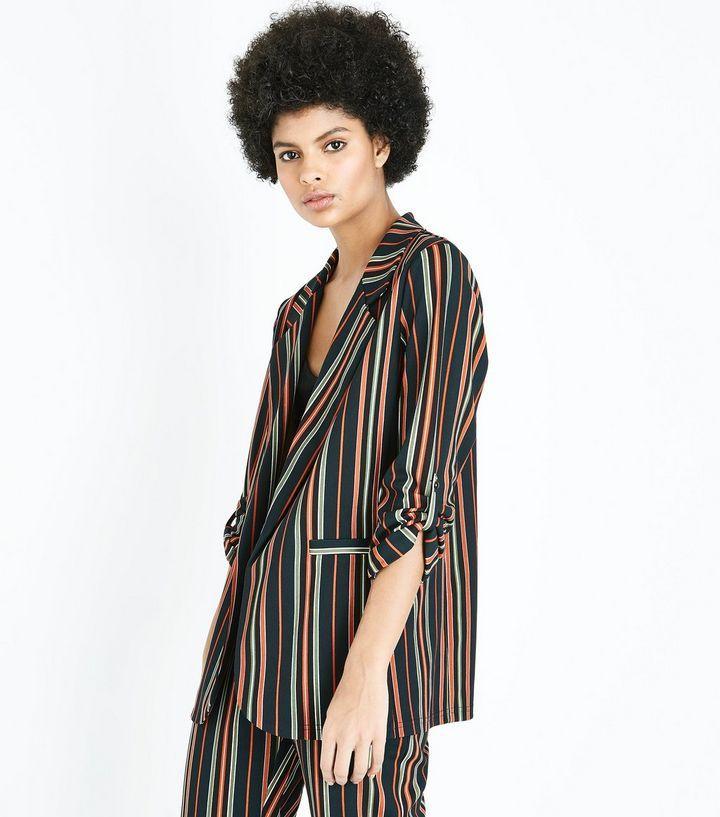 Z2018  Cameo Rose Black Contrast Stripe Blazer  | New Look
