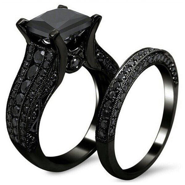 AMIERY Black Gold Sapphire Princess Cut CZ Wedding Engagement Band Bridal Rings Jewelry Set