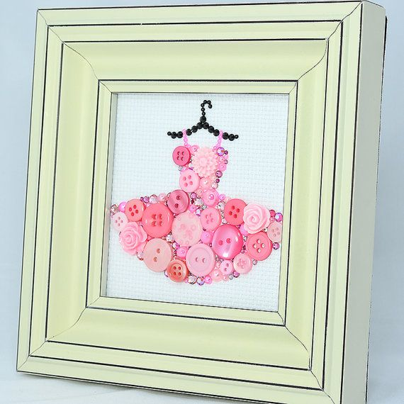 framed button art   pink tutu   handmade vintage button