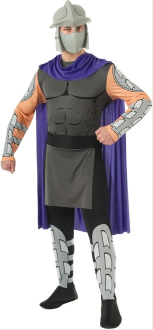 Teenage Mutant Ninja Turtles Shredder Costume - Lead the Foot Clan and battle the Teenage Mutant Ninja Turtles this Halloween with this fantastic Shredder Costume. This three-piece costume includes a mask, jumpsuit and belt. The jumpsuit features an attached purple cape with a cowl in the front. The torso is detailed to resemble muscles, and features a false tabard. #tmnt #movies #yyc #costume