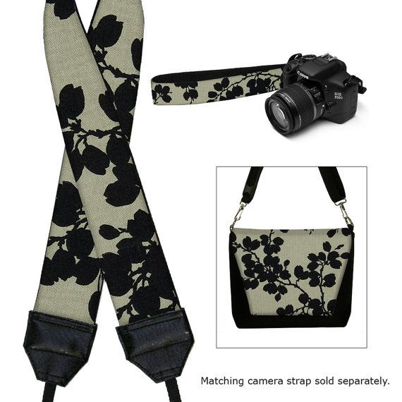 Black Floral Nikon Camera Bag Dslr Camera by janinekingdesigns