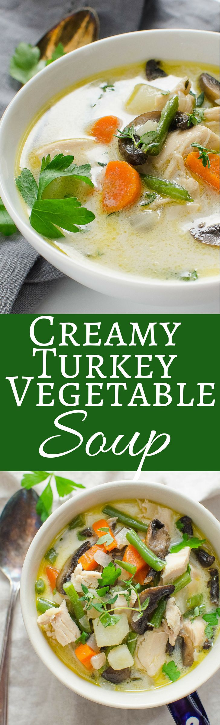 I want some of this Creamy Turkey Vegetable Soup right now. Looks SOOOO good!