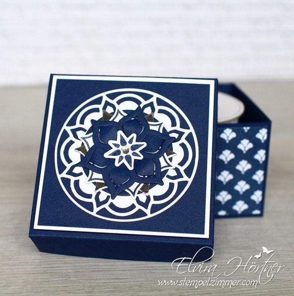Für meine kleine Box habe ich das Designerpapier Blumenboutique mit den Thinlits aus dem Set Orientpalast kombiniert. Das Designerpapier zu diesem