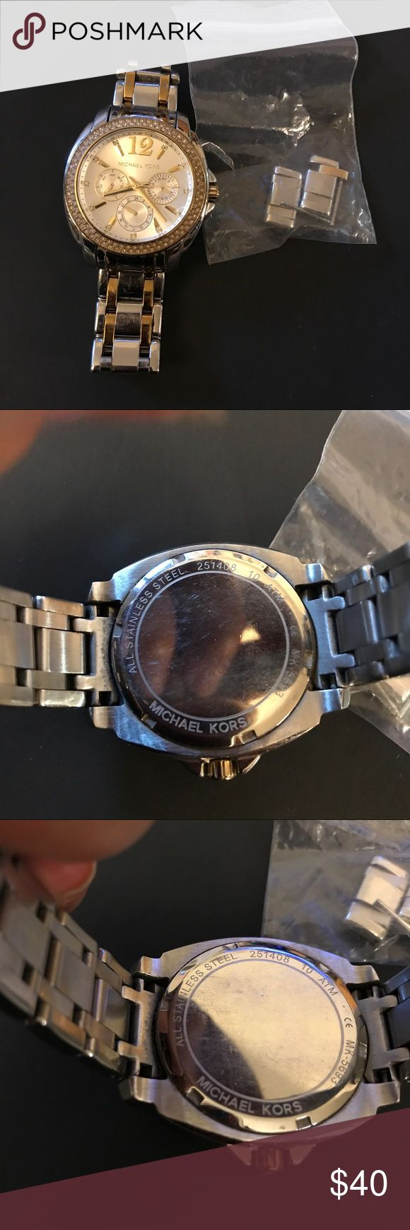 Michael Kors ladies watch -- PRE-owned With signs of wear - hairline scratches on the bracelet - rezised - but links are available. NO BOX NO TAG this is worn --- working fine - no missing stones - needs a bit of cleaning. Michael Kors Accessories Watches