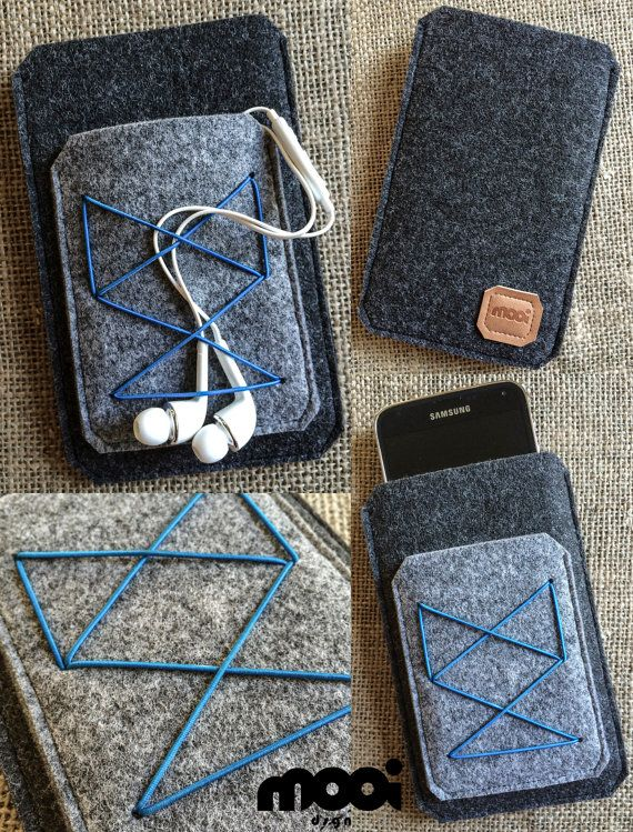 Handmade graphite & grey felt phone case by mooidsgn