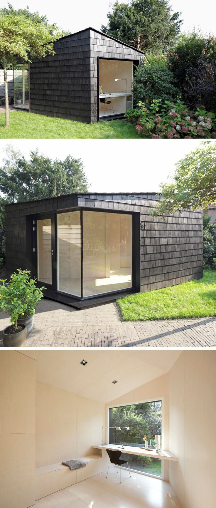 This backyard shed was created as a multi-functional space detached from the home that could be used as a storage shed for tools and bikes, a bright private home office, or a temporary guest room.