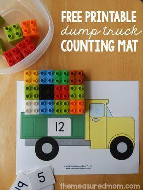 Math Work. Dump truck math is a fun counting activity! Free printable! Laminate for longevity. ~ Mastering Montessori ❤️