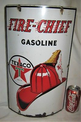 ANTIQUE-TEXACO-USA-1940-FIRE-CHIEF-LG-CURVED-GAS-OIL-PUMP-STATION-ART-TOOL-SIGN