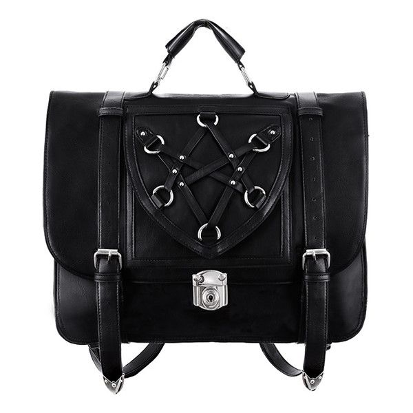 Hexagram Messenger Bag/Backpack by Restyle (£57) ❤ liked on Polyvore featuring bags, backpacks, day pack backpack, messenger bags, knapsack bag, fake leather backpack and fake leather messenger bag