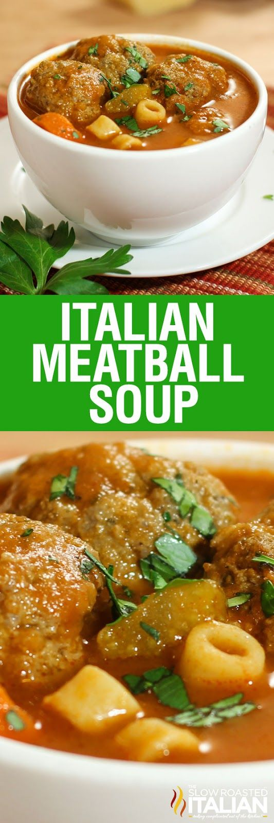 Italian Meatball Soup is hearty feel-good soup loaded with pasta, veggies and scrumptious meatballs cooked in a  tomato broth. This is a simple recipe prepared in one pot that is ready in just 30 minutes.  It doesn't get much easier than that!