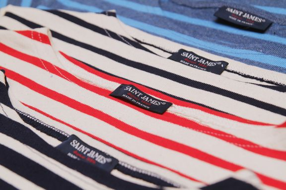 """SAINT JAMES COLLECTION OF STRIPES """"the seafarers' second skin"""" THICK and TIGHT Knitwear."""
