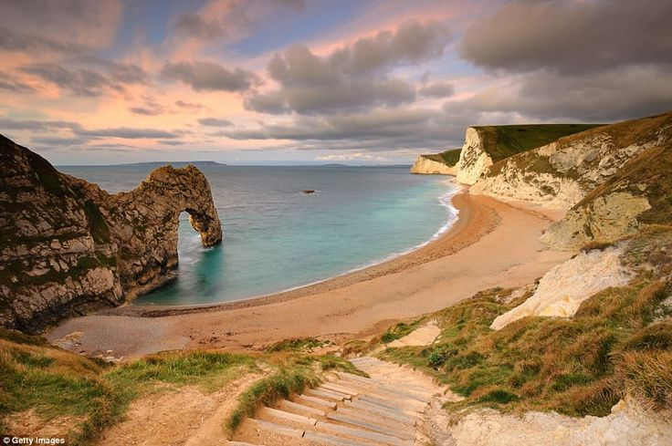 Durdle Door, Dorset:Durdle Door, the iconic natural limestone arch on Dorset's Jurassic coastline, comes in at 15th. The arch is privately owned by a family who owns 12,000 acres in Dorset