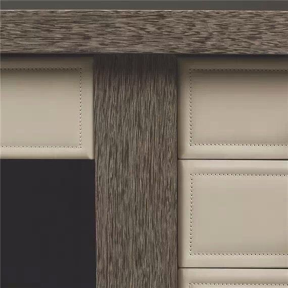 High End cabinettery detail: leather and wood