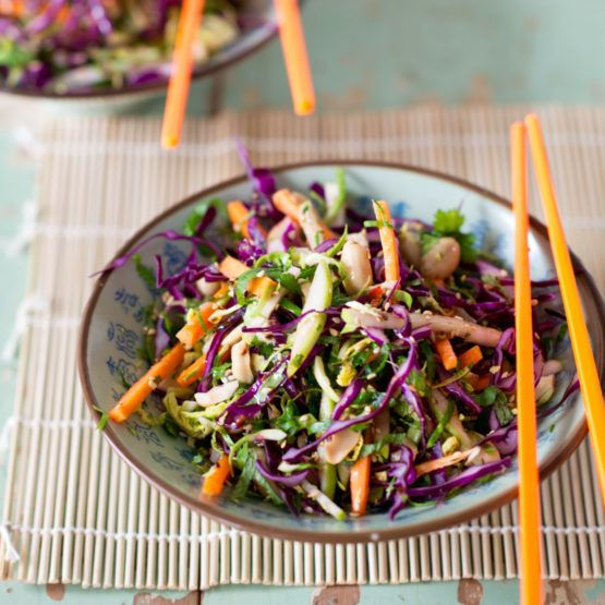 Crunchy Asian slaw - I use this as a base to serve (potsticker) dumplings on, and it's amazing!