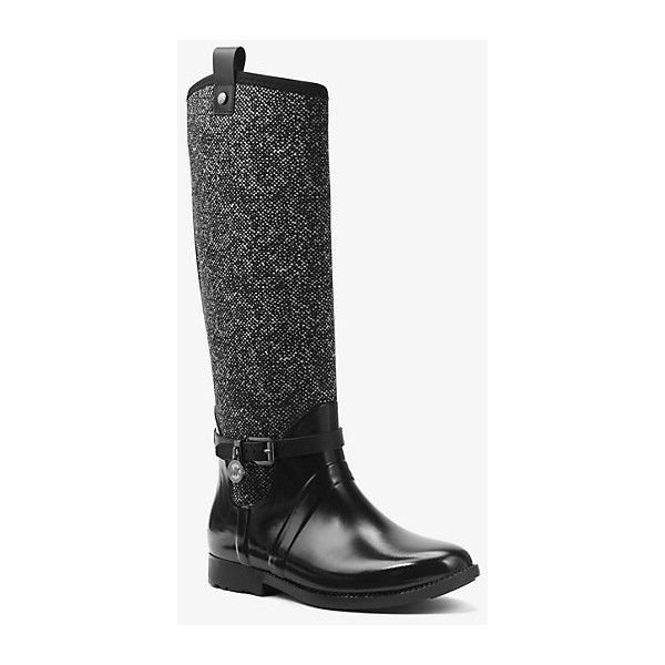 MICHAEL Michael Kors Charm Tweed And Rubber Rain Boot ($165) ❤ liked on Polyvore featuring shoes, boots, white, lug-sole boots, wellies rubber boots, wellington boots, tweed shoes and water-resistant boots