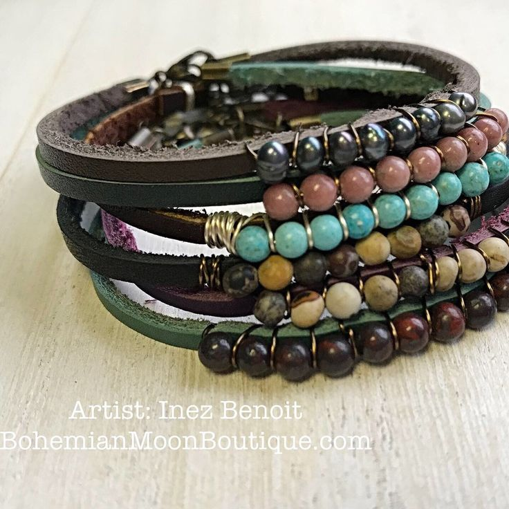 Boho Style Handmade Leather Bracelet Stack