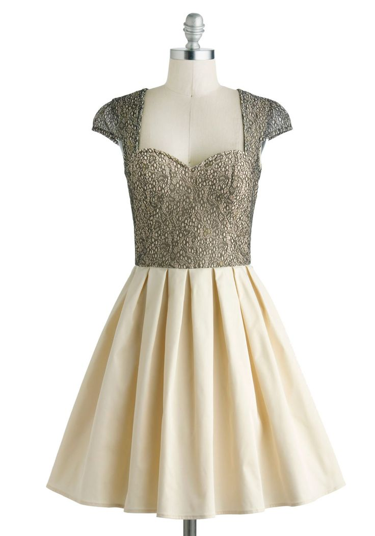 Glimmer and Dancing Dress - Sheer, Mid-length, Tan / Cream, Black, Lace, Pleats, Prom, Cocktail, Fit & Flare, Cap Sleeves