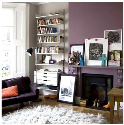 soft muted purple accent wall/shag rug