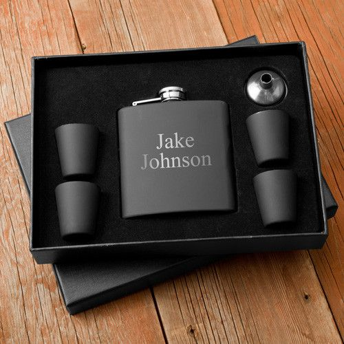 Personalized Matte Black Flask & Shot Glass Gift Box Set for Father's Day, Groomsmen Gifts and Christmas Gifts.