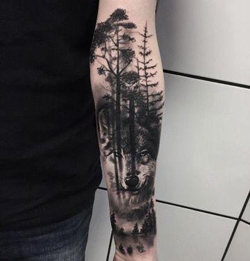 tattoos en el antebrazo para hombres con paisaje