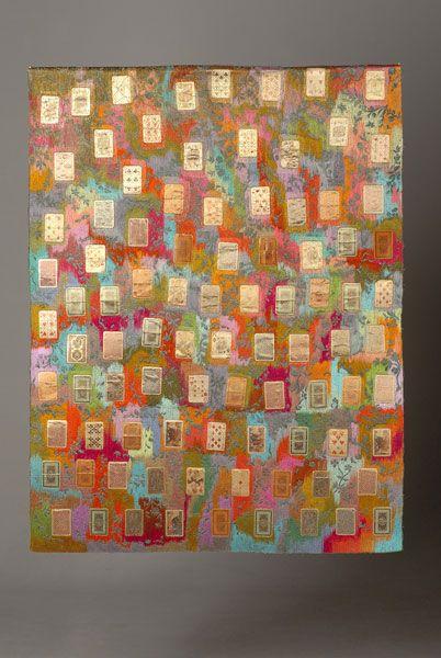 "Ulla Pohjola ~ ""Daydream Blanket"" (2011) machine-made embroidery, mixed media: second-hand textile (the old curtain of the Hiekka Art Museum), old playing cards, viscose threads | 116 x 150 cm *Päiväunipeitto* via ullapohjola.fi"