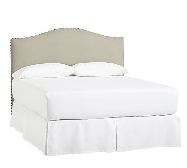 Raleigh Upholstered Camelback California King Low Headboard with Bronze Nailheads, Premium Performance Basketweave Oatmeal