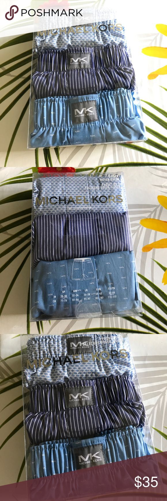 Michael Kors Men's 3 Cotton Woven Boxers Sz Small New in box 100% Cotton Featured in multi Three pack of soft woven boxers Stretch waistbands with Michael Kors logo patch at front Button fly      Location : Blue Bag Michael Kors Underwear & Socks Boxers