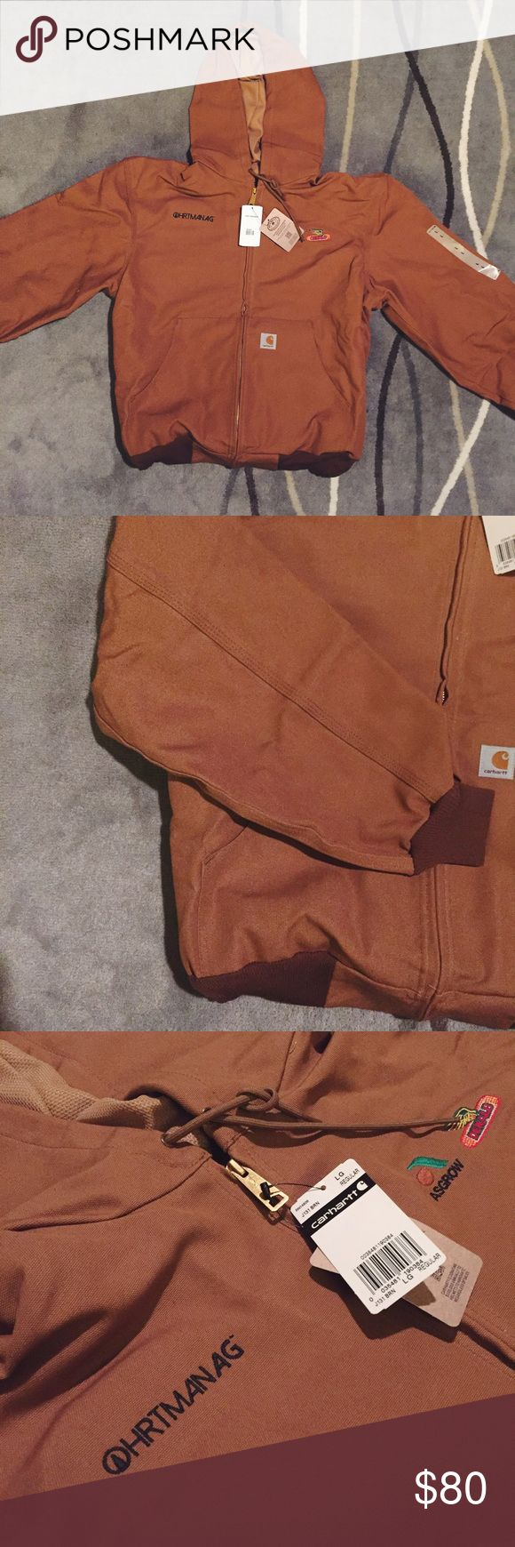 NWT Sandstone Carhartt Jacket Jacket with embroidered seed corn logos. In excellent condition, never been worn. Carhartt Jackets & Coats