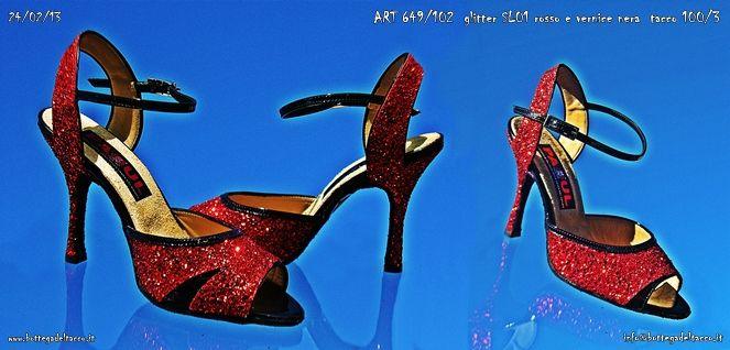 ART 649 102  glitter SL01 rossi e vernice nera