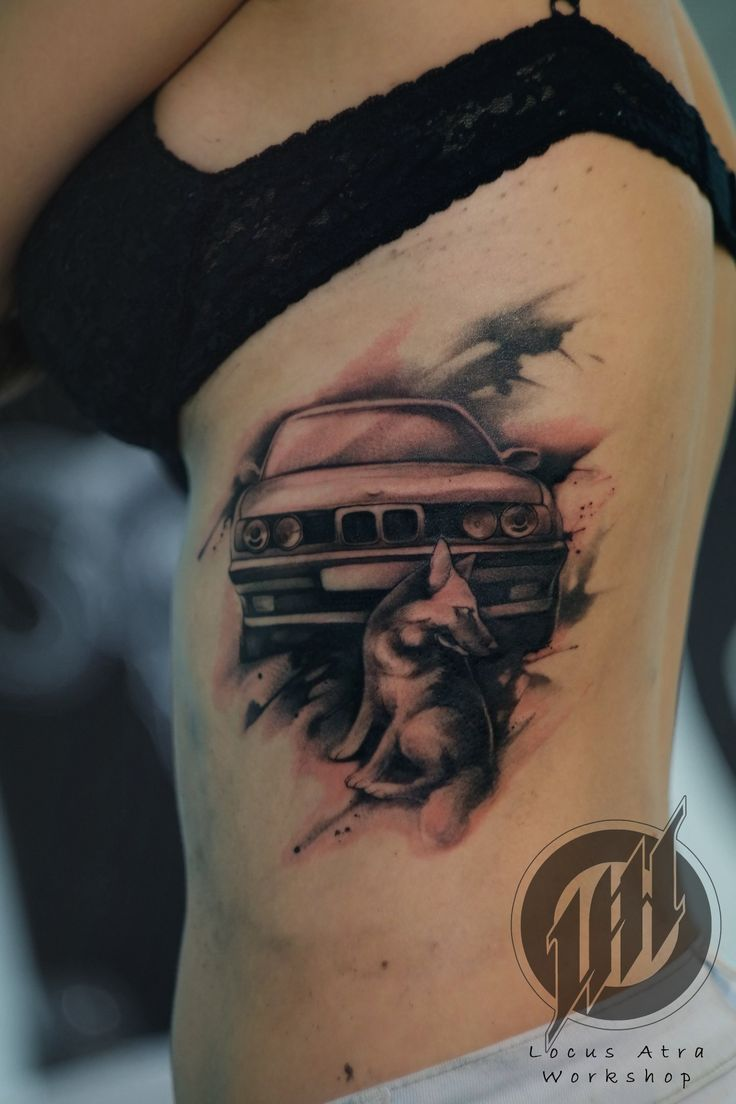 Тату_Locus Atra _татуировка_в Самаре BMW and German Shepherd tattoo art L.A.W. tattoo dog and car black and white
