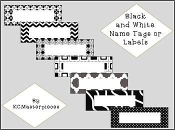 Decorate your classroom with these Bold Black and White Name Tags or Labels!  These labels can either be printed out and written on by hand or use the PNG files to make a text box and type your labels or classroom names.