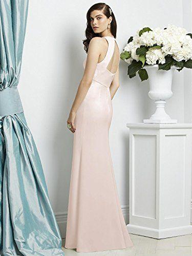 516cccb7f9 Dessy Style 2938 Floor Length Crepe Trumpet Skirt Formal Dress Open Back  Halter V-Neck