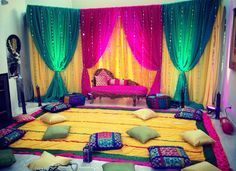 Ladies Sangeet; Pillows to sit on; Could be outside by the pool