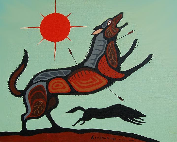 Carl Ray - Wounded Wolf   Art (Cree & Woodland Artists ...